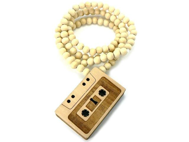 Cassette Tape Wood Pendant Replica Necklace